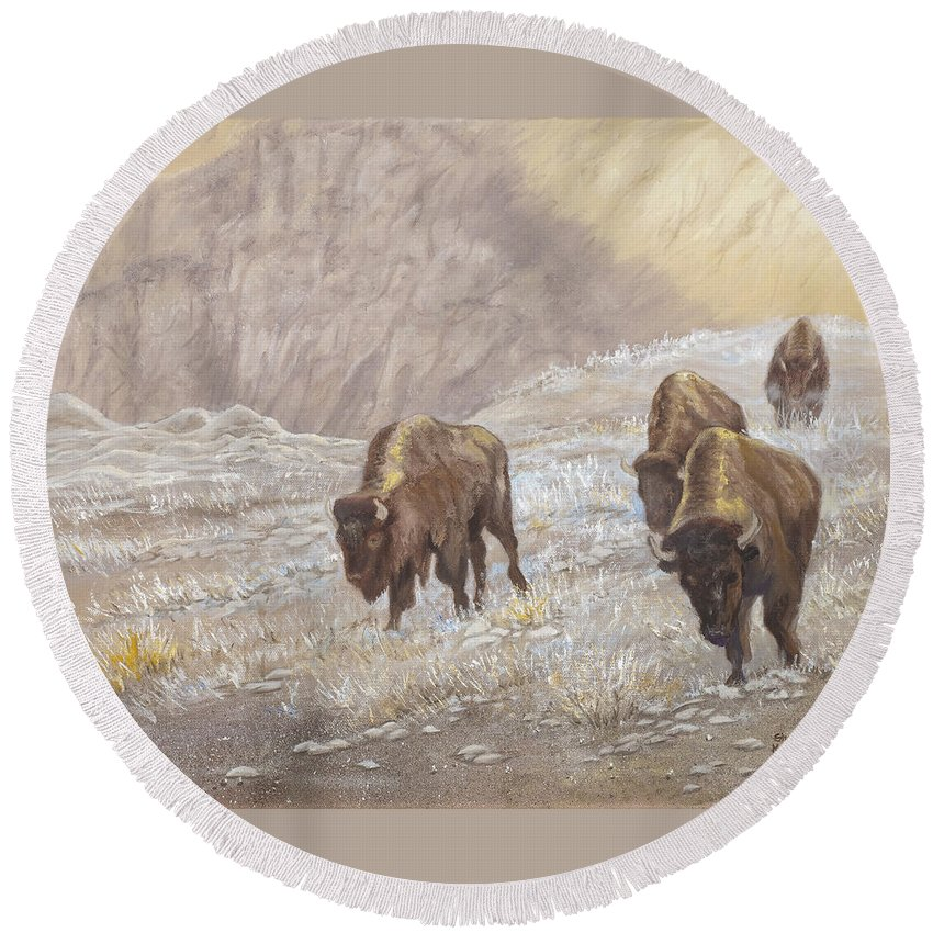 Bison Round Beach Towel featuring the painting Buffalo Under The Alpenglow by Sharon Karlson