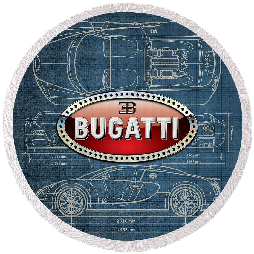�wheels Of Fortune� By Serge Averbukh Round Beach Towel featuring the photograph Bugatti 3 D Badge Over Bugatti Veyron Grand Sport Blueprint by Serge Averbukh