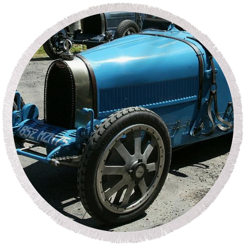 Oldtimer Round Beach Towel featuring the photograph Bugatti Oldtimer by Christiane Schulze Art And Photography