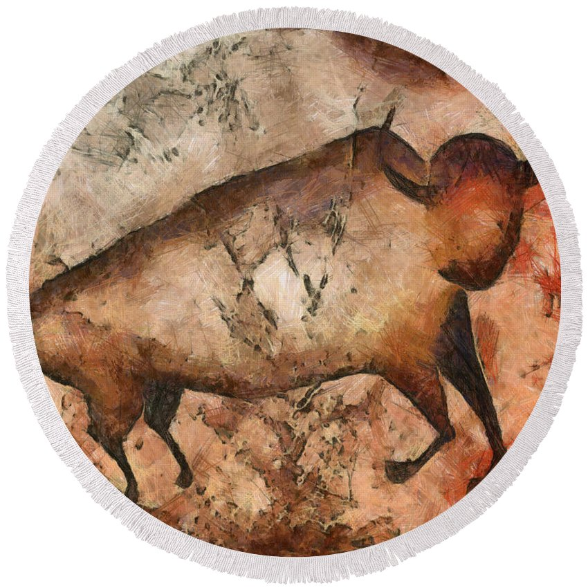 Abstract Round Beach Towel featuring the mixed media Bull A La Altamira by Michal Boubin
