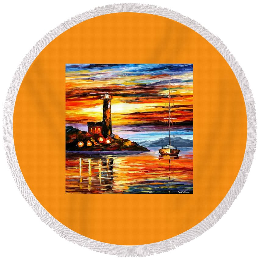 Afremov Round Beach Towel featuring the painting By The Lighthouse by Leonid Afremov