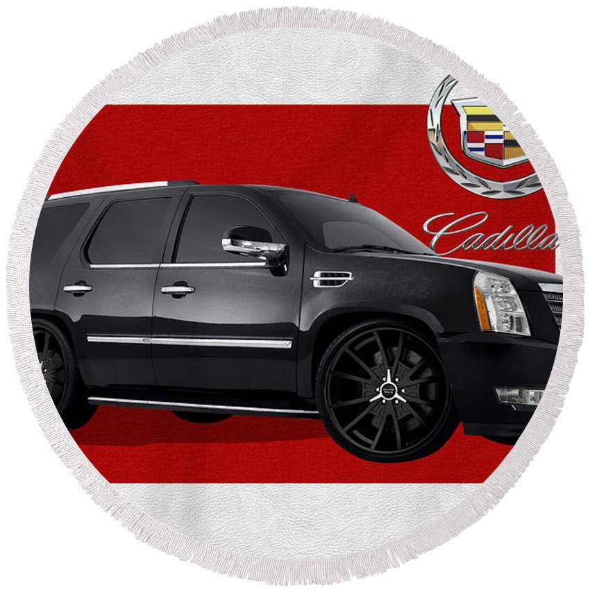 �cadillac� By Serge Averbukh Round Beach Towel featuring the photograph Cadillac Escalade With 3 D Badge by Serge Averbukh