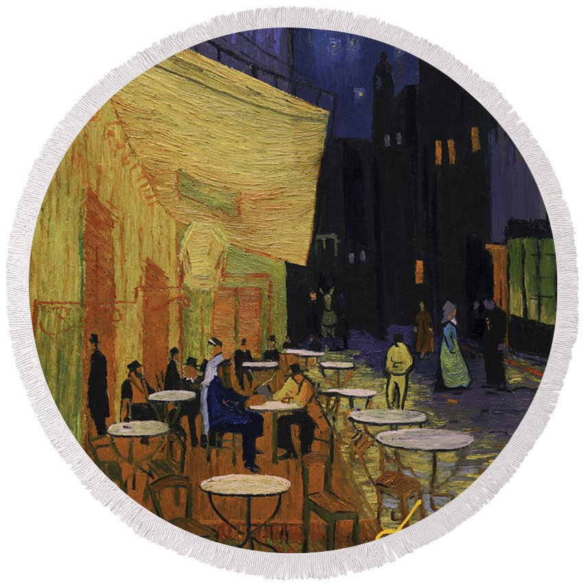 Round Beach Towel featuring the painting Cafe Terrace At Night by Marlena Jopyk-Misiak