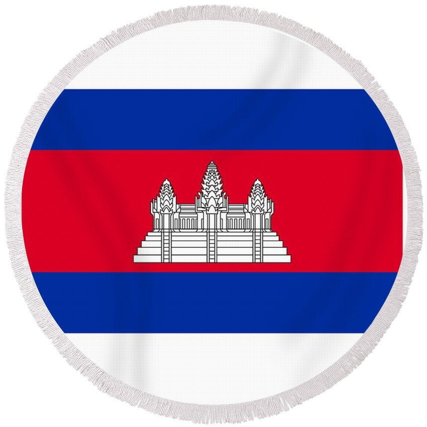 Banner Round Beach Towel featuring the digital art Cambodia Flag by Frederick Holiday