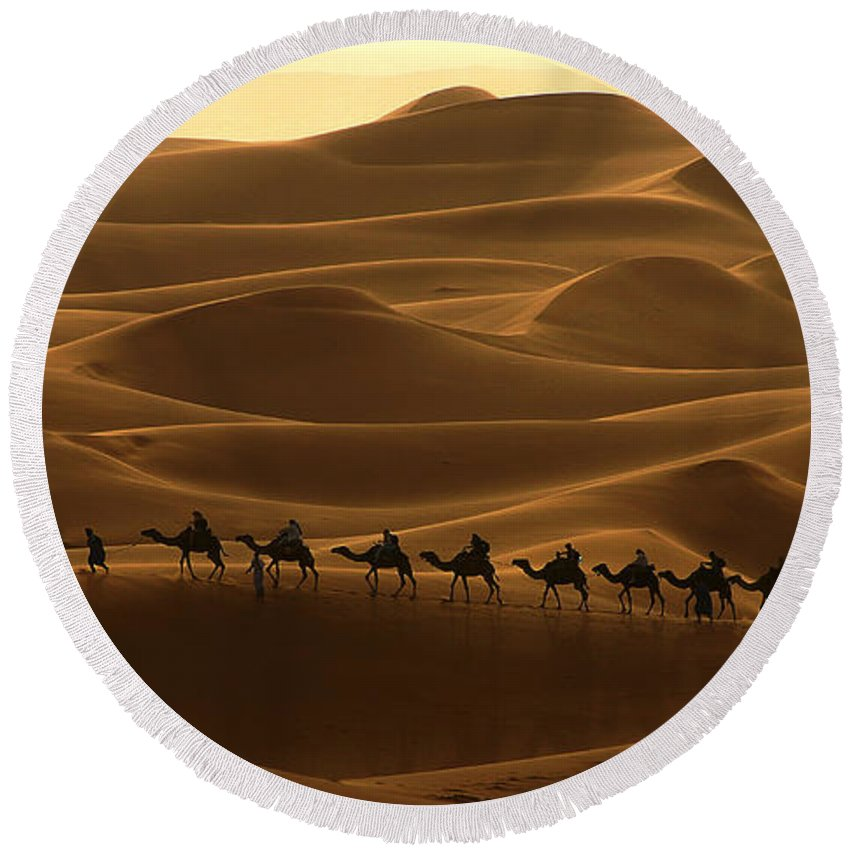 Camel Round Beach Towel featuring the photograph Camel Caravan In The Erg Chebbi Southern Morocco by Ralph A Ledergerber-Photography