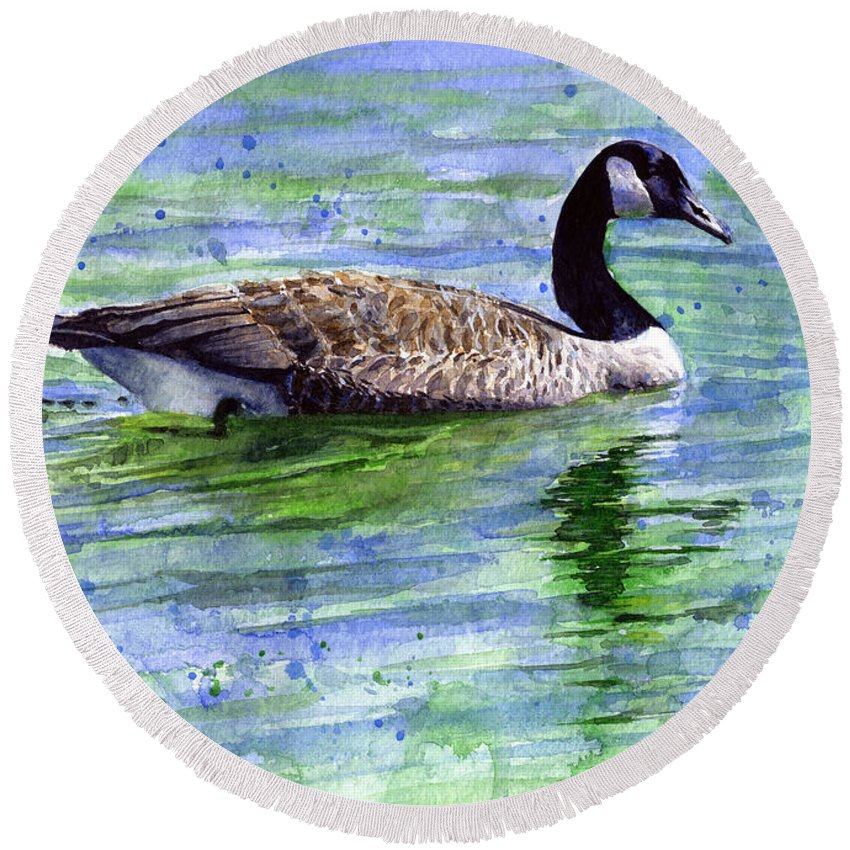 Bird Round Beach Towel featuring the painting Canada Goose by John D Benson