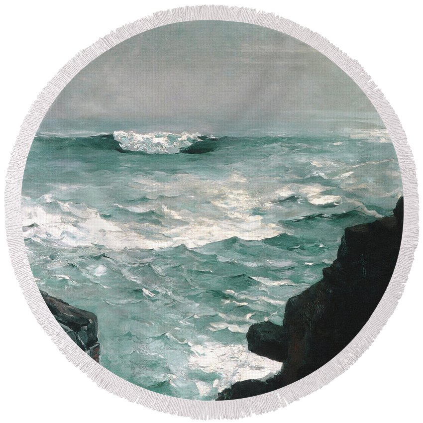 Homer Round Beach Towel featuring the painting Cannon Rock, 1895 1 by Winslow Homer