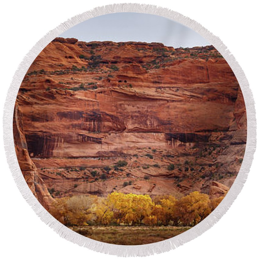Canyon De Chelly Round Beach Towel featuring the photograph Canyon De Chelly 10 by Mike Penney