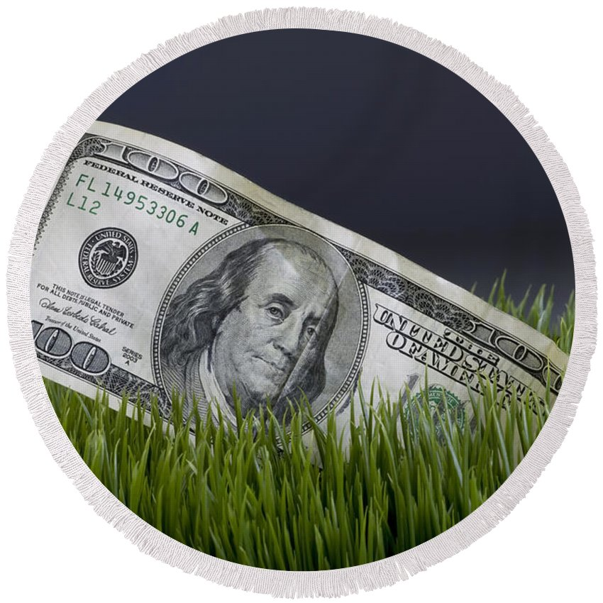 Benjamin Round Beach Towel featuring the photograph Cash In The Grass. by W Scott McGill