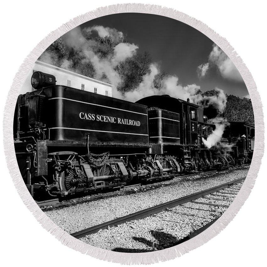 Cass Scenic Railroad Round Beach Towel featuring the photograph Cass Scenic Railroad by Mountain Dreams