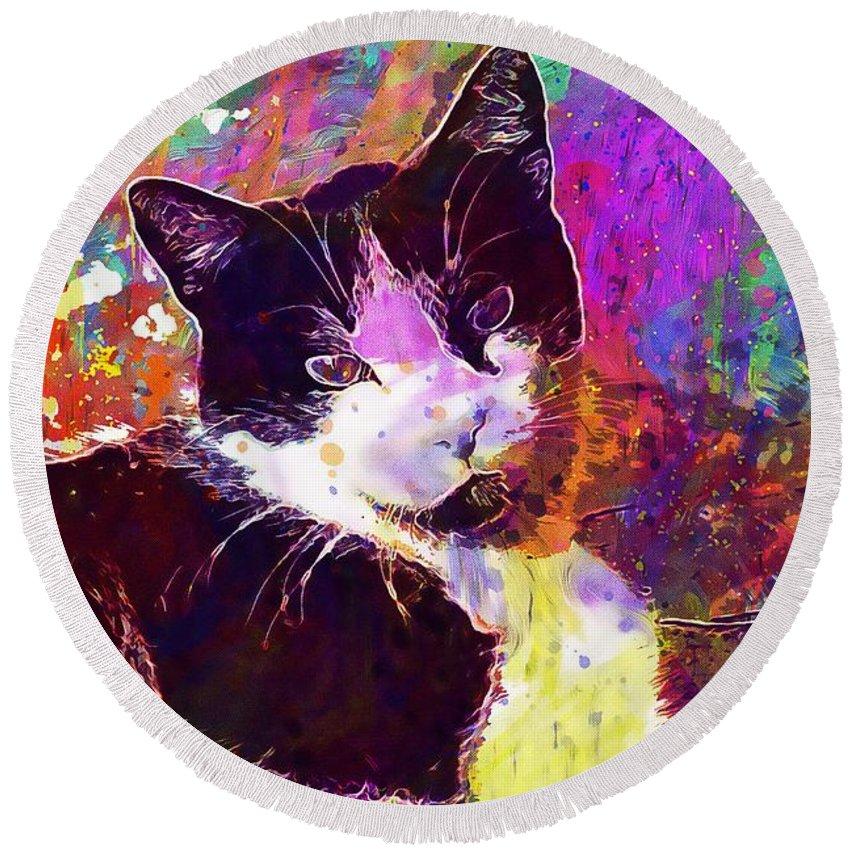 Cat Round Beach Towel featuring the digital art Cat Feline Pet Animal Cute by PixBreak Art