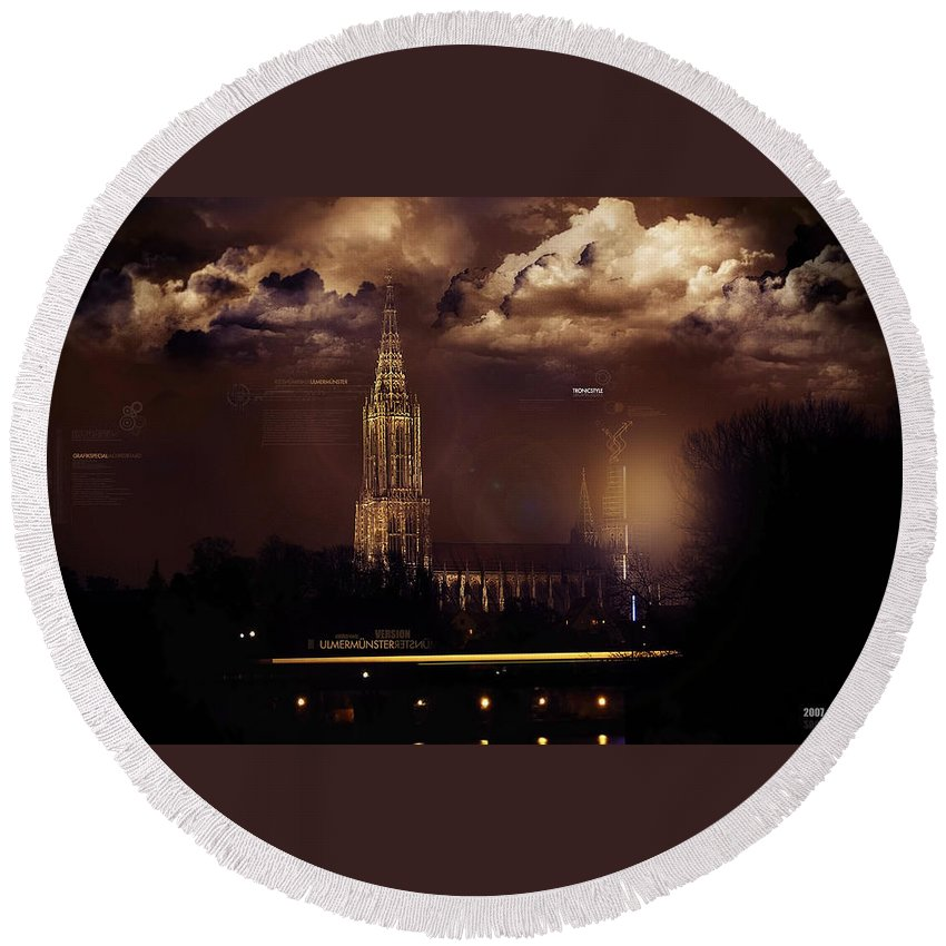 Cathedral Round Beach Towel featuring the digital art Cathedral by Mery Moon