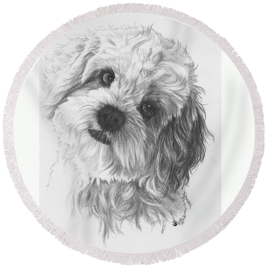 Designer Dog Round Beach Towel featuring the drawing Cava-chon by Barbara Keith