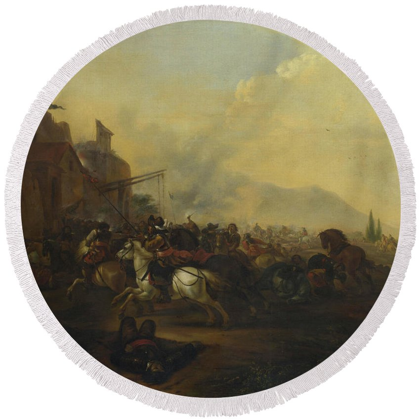 Military Round Beach Towel featuring the painting Cavalry Attacking A Fortified Place by Hendrick Verschuring