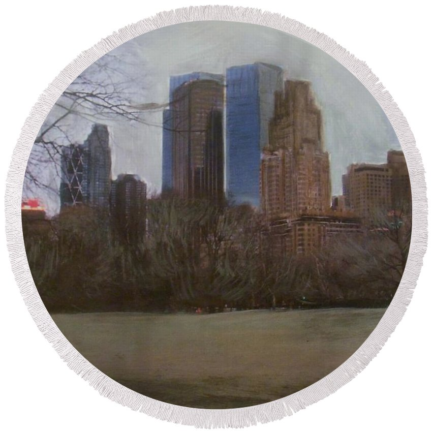 Central Park Round Beach Towel featuring the painting Central Park by Anita Burgermeister