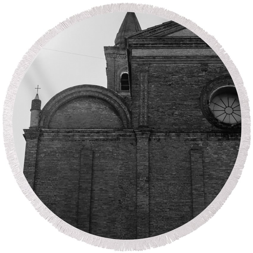Cesena Round Beach Towel featuring the photograph Cesena - Italy - The Cathedral by Andrea Mazzocchetti