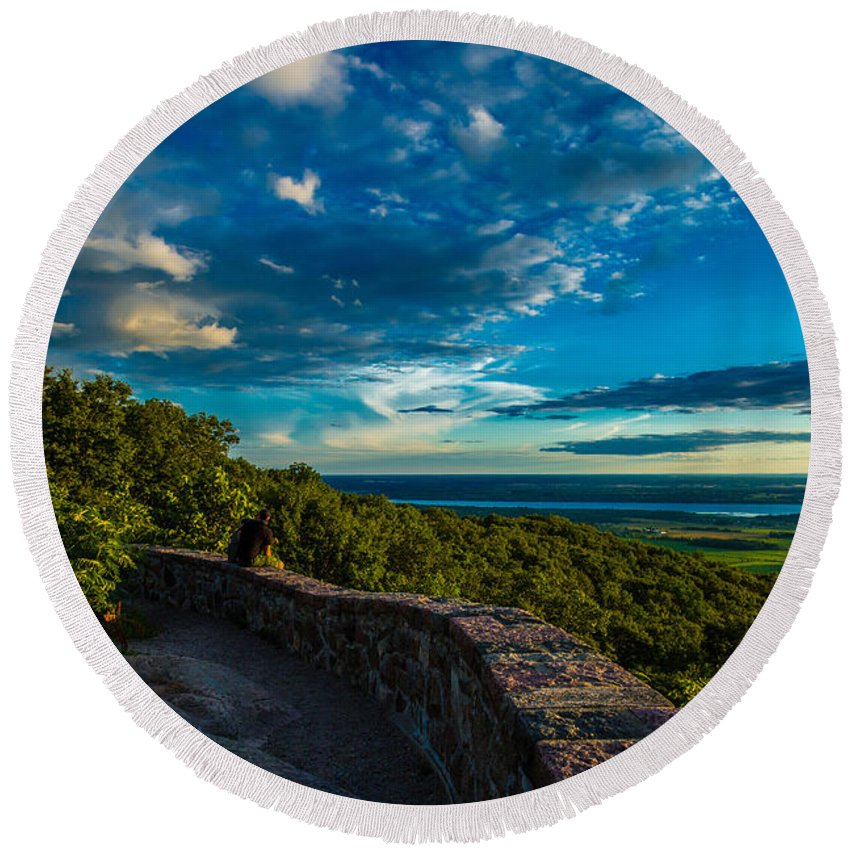 Quebec Round Beach Towel featuring the photograph Champlain Lookout by Roger Monahan