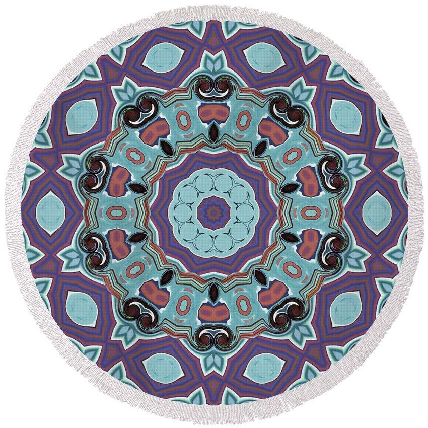Mandala Art Round Beach Towel featuring the painting Change by Jeelan Clark