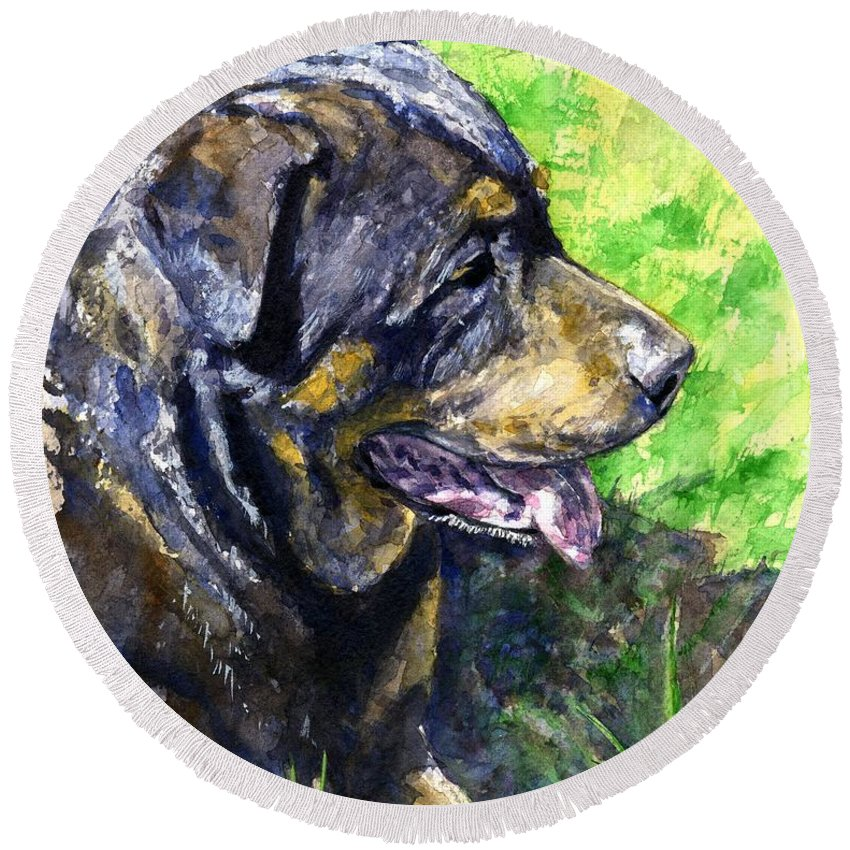Rottweiler Round Beach Towel featuring the painting Chaos by John D Benson