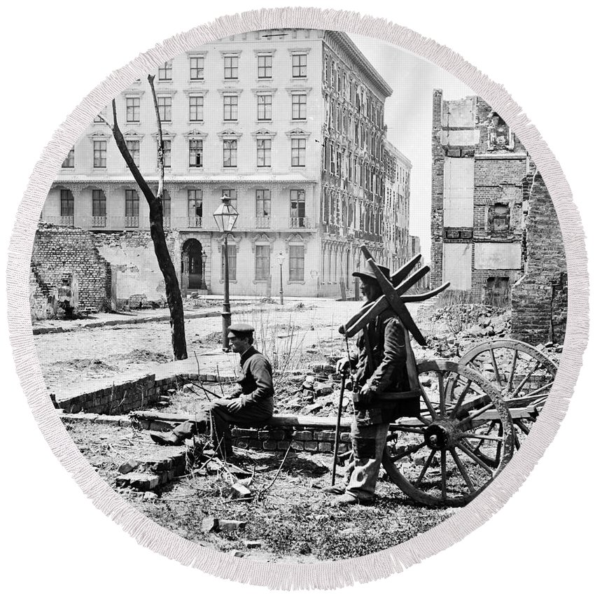 1865 Round Beach Towel featuring the photograph Charleston Ruins, 1865 by Granger