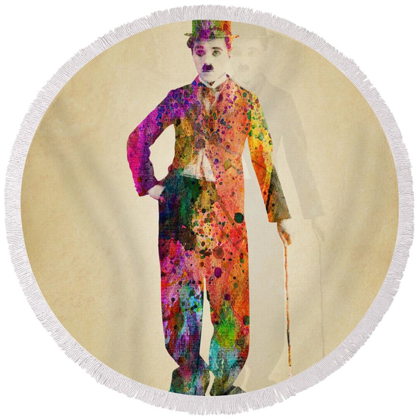 Charlie Chaplin Round Beach Towel featuring the painting Charlie Chaplin by Mark Ashkenazi