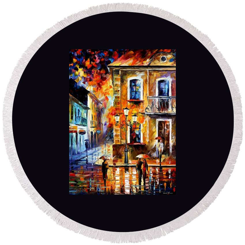 Afremov Round Beach Towel featuring the painting Charming Night by Leonid Afremov