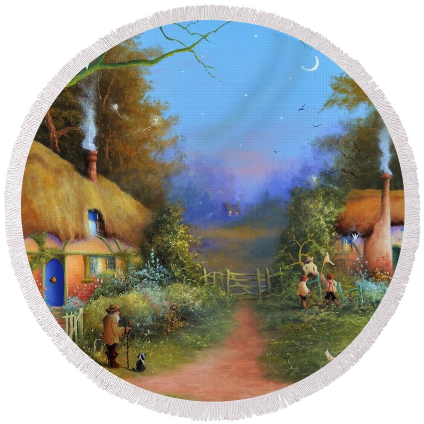 Fairies Round Beach Towel featuring the painting Chasing Fairies by Joe Gilronan