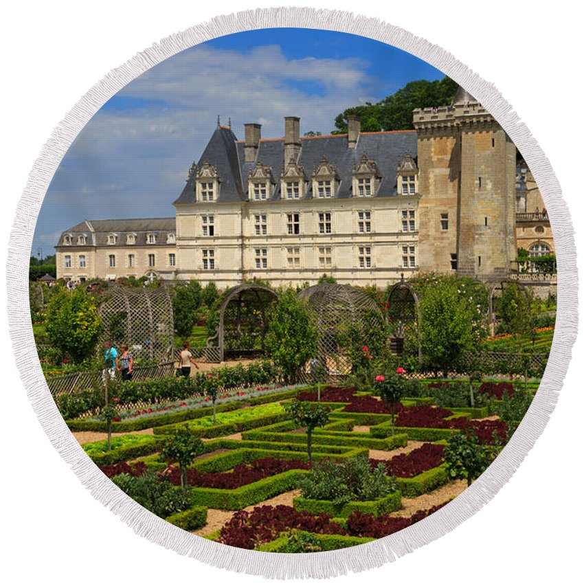 Potager Round Beach Towel featuring the photograph Chateau De Villandry by Louise Heusinkveld