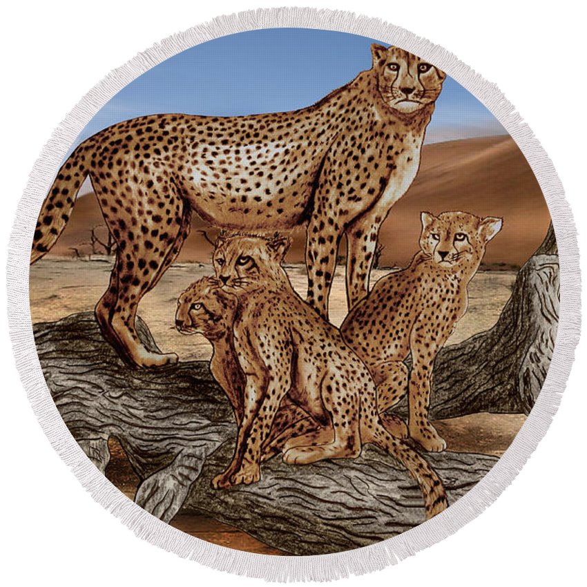 Cheetah Family Tree Round Beach Towel featuring the drawing Cheetah Family Tree by Peter Piatt