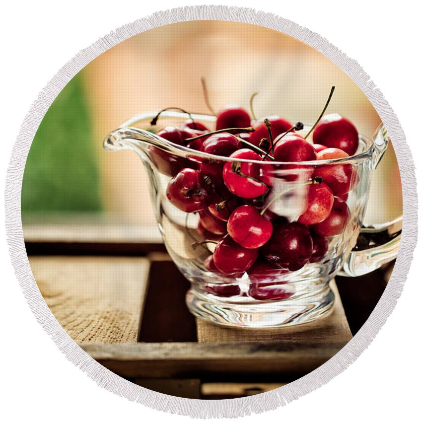 Cherry Round Beach Towel featuring the photograph Cherries by Nailia Schwarz