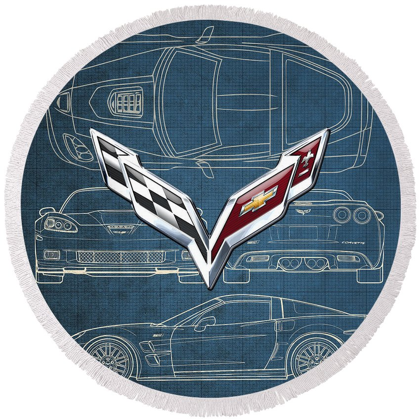 �wheels Of Fortune� By Serge Averbukh Round Beach Towel featuring the photograph Chevrolet Corvette 3 D Badge Over Corvette C 6 Z R 1 Blueprint by Serge Averbukh