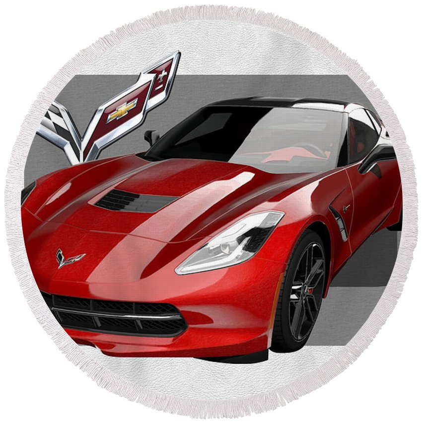 �chevrolet Corvette� By Serge Averbukh Round Beach Towel featuring the photograph Chevrolet Corvette C 7 Stingray with 3 D Badge by Serge Averbukh