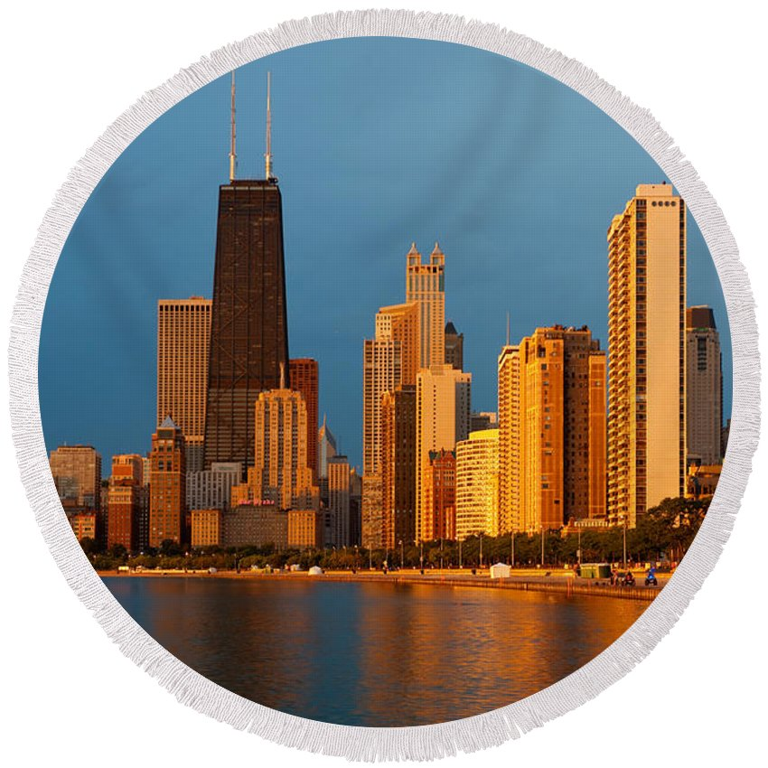 Chicago Round Beach Towel featuring the photograph Chicago Skyline by Sebastian Musial