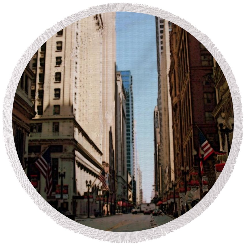 Chicago Round Beach Towel featuring the digital art Chicago Street With Flags by Anita Burgermeister