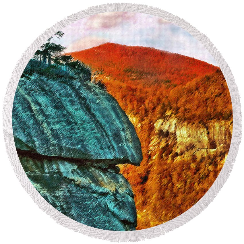 Landscape Round Beach Towel featuring the painting Chimney Rock by Steve Karol