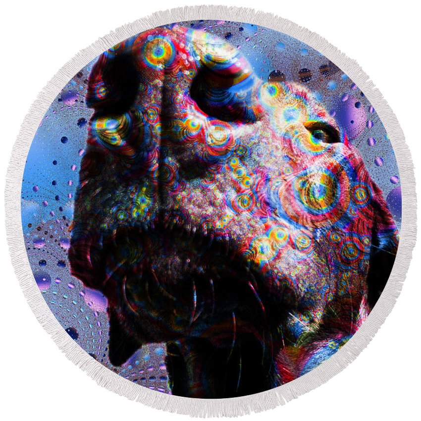 Dog Round Beach Towel featuring the painting Chocolate Lab Nose by Roger Wedegis