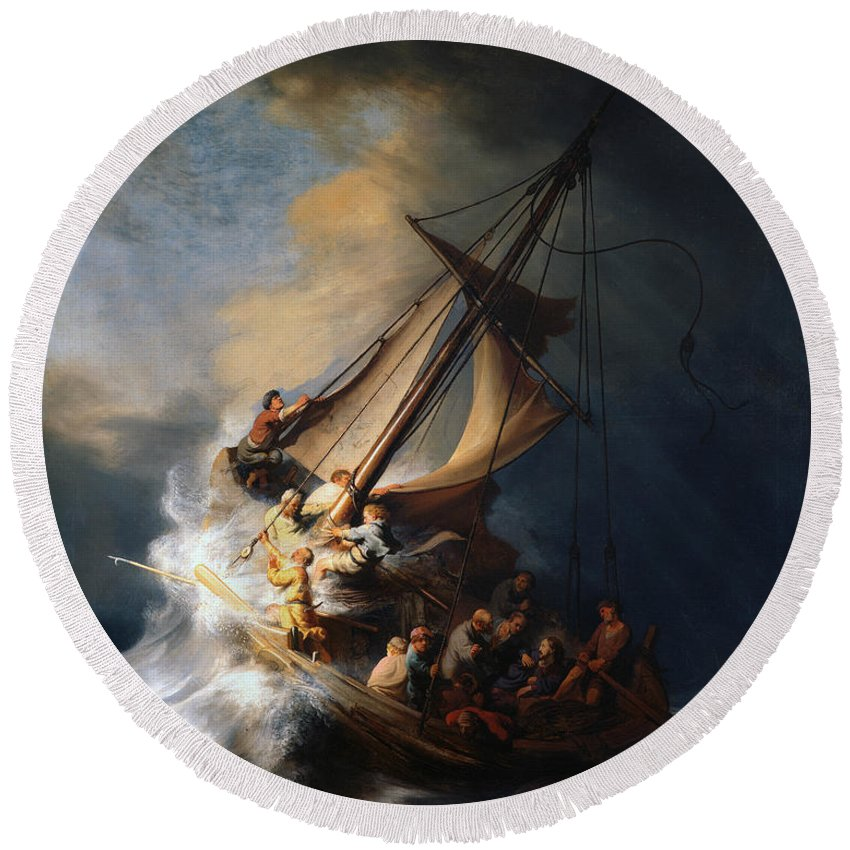 Dutch Painters Round Beach Towel featuring the painting Christ In The Storm On The Lake Of Galilee by Rembrandt