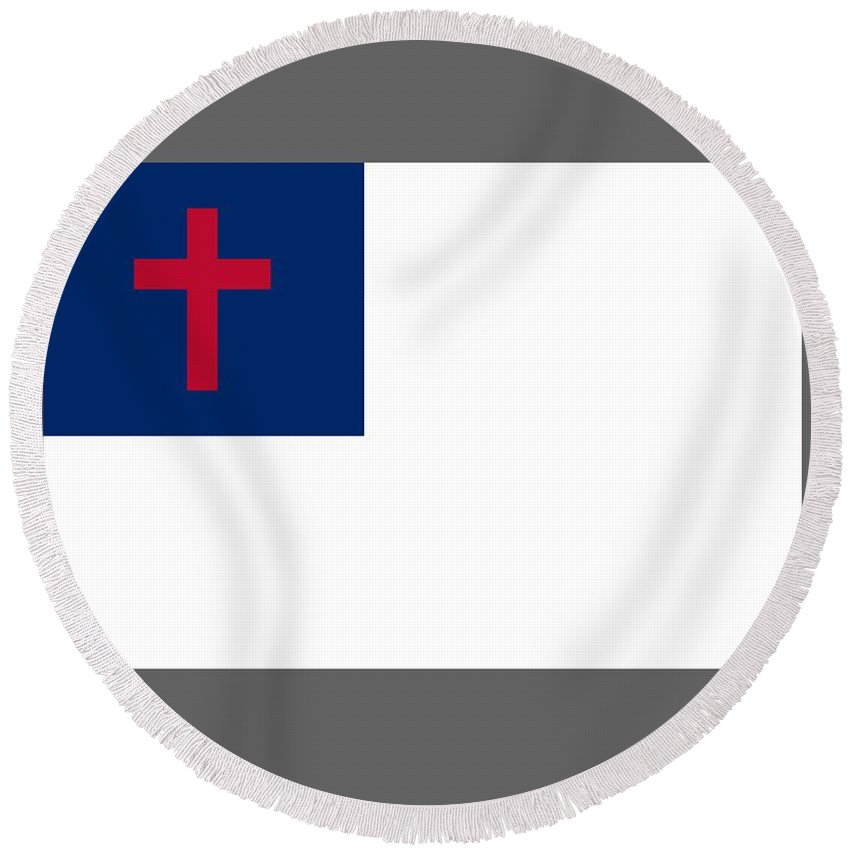 Flag Round Beach Towel featuring the digital art Christian Flag by Frederick Holiday
