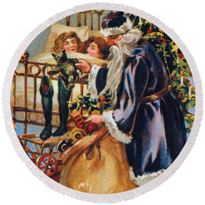 19th Century Round Beach Towel featuring the photograph Christmas Card by Granger
