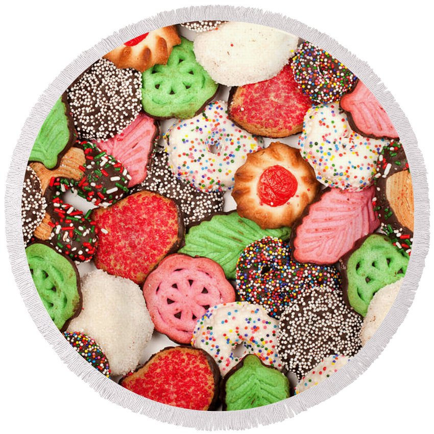 Cookies Round Beach Towel featuring the photograph Christmas Cookies by Anthony Totah