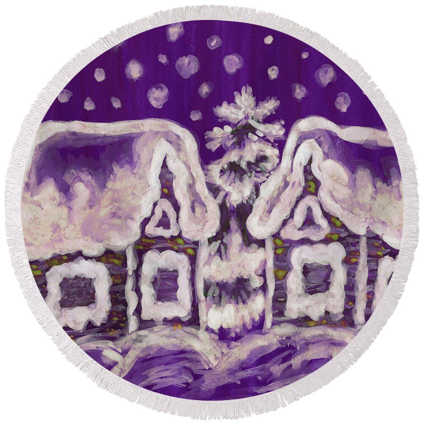 Christmas Round Beach Towel featuring the painting Christmas Picture On Crimson Background by Irina Afonskaya