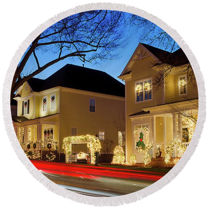 Mcadenville Round Beach Towel featuring the photograph Christmas Village by Craig McCausland