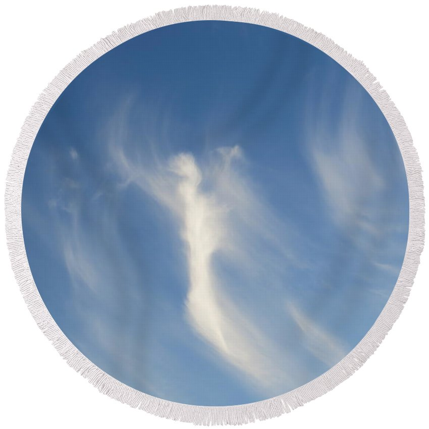 Cirrus Round Beach Towel featuring the photograph Cirrus Angel by Adrian Cooch