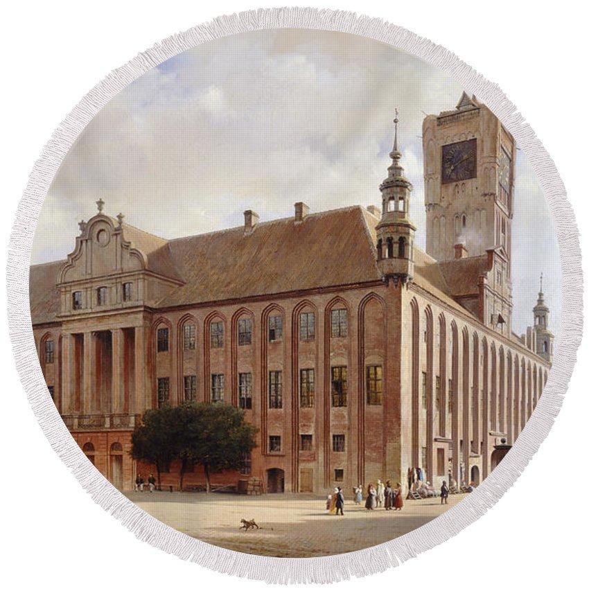Eduard Gaertner Round Beach Towel featuring the painting City Hall At Thorn by Eduard Gaertner