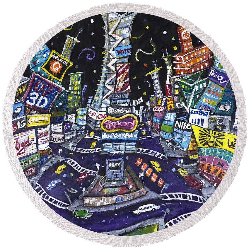 New York City Round Beach Towel featuring the painting City Of Lights by Jason Gluskin
