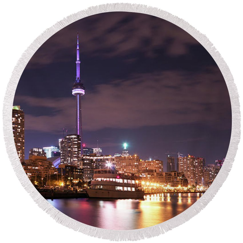 Toronto Round Beach Towel featuring the photograph City Of Toronto Panorama by Maxim Images Prints