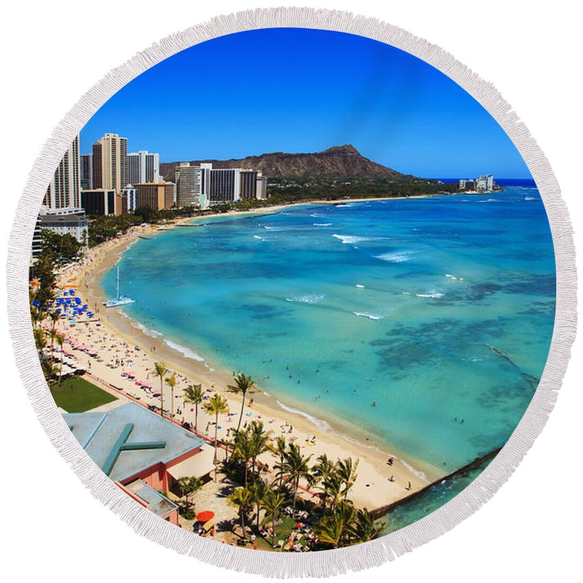 Above Round Beach Towel featuring the photograph Classic Waikiki by Tomas del Amo - Printscapes