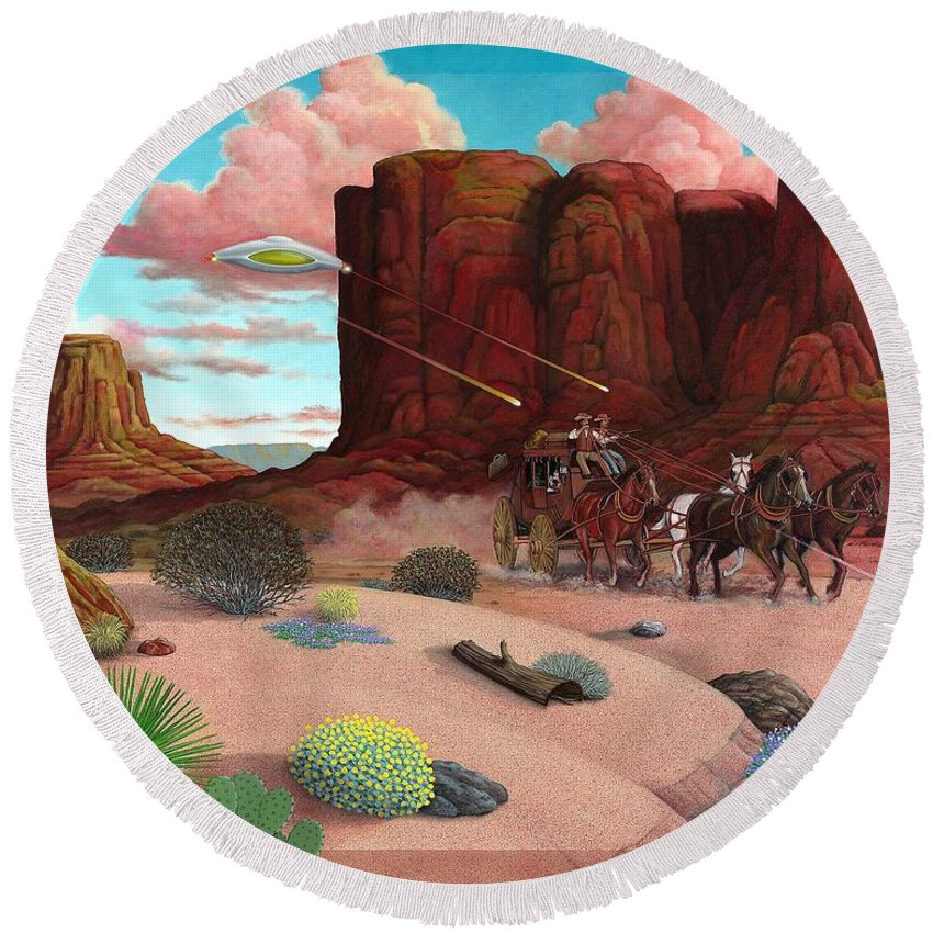 Cowboys Round Beach Towel featuring the painting Close Encounter by Snake Jagger