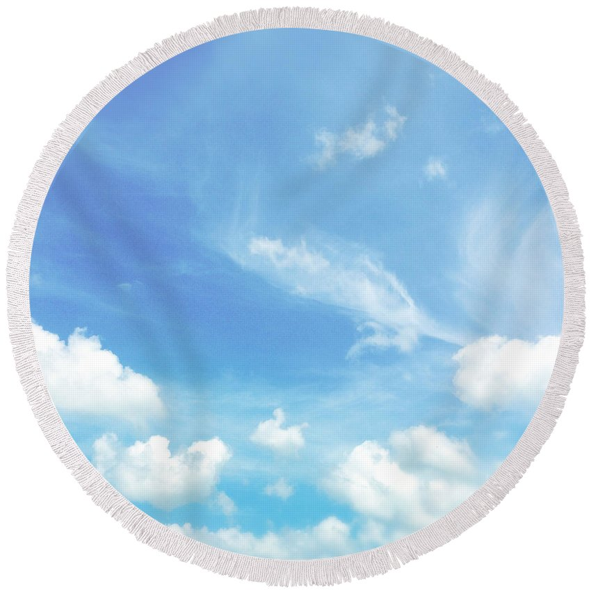 Cloud Round Beach Towel featuring the photograph Cloud Shapes by Les Cunliffe