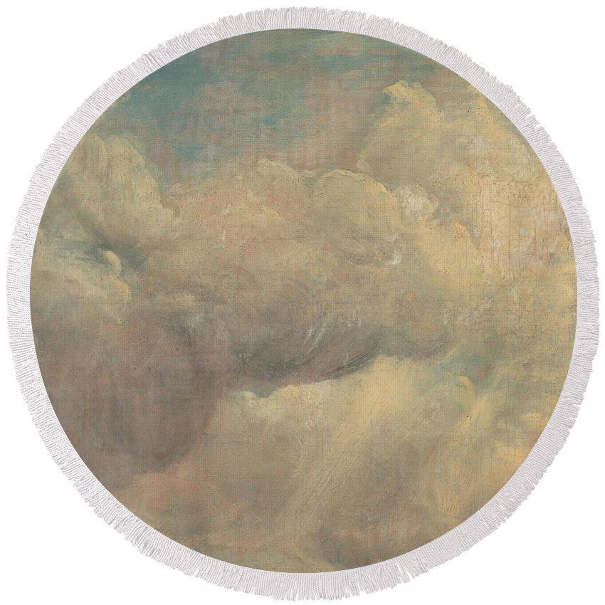 English Romantic Painters Round Beach Towel featuring the painting Cloud Study by John Constable